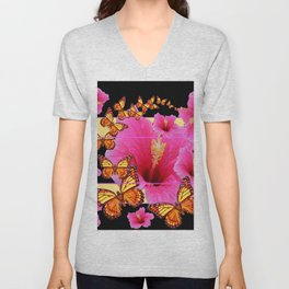 GIRLY PINK HIBISCUS MONARCH BUTTERFLIES Unisex V-Neck