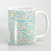 winter Mugs featuring Berry Branches – Turquoise & Gold by Cat Coquillette