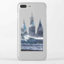 Salt Lake Temple Dramatic Sky Silhouette Clear iPhone Case