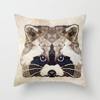 racoon Throw Pillows featuring Racoon by Ancello
