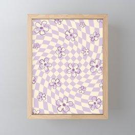 Purple Checker Flower Swirl Warp Framed Mini Art Print