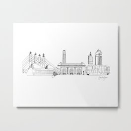 Kansas City Skyline Illustration Black Line Art Metal Print