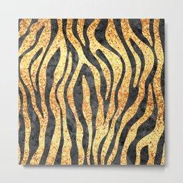 Gold Mosaic Stripes Metal Print