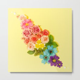 Rainbow Flowers Bouquet Metal Print