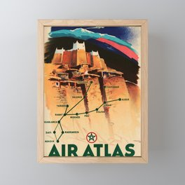 altes Plakat Air Atlas Framed Mini Art Print