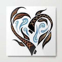 Koi Fish Heart Metal Print
