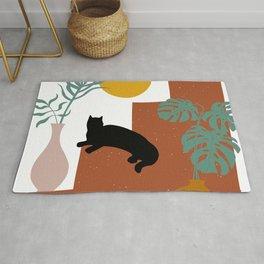 Mediterranean Steps, Plants, Sun and Moon, Cat Art, Geometric Prints Rug