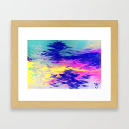 Neon Mimosa Inspired Painting Framed Art Print