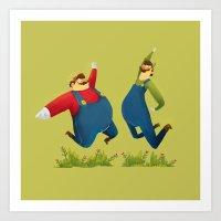 super mario Art Prints featuring SUPER MARIO by rafael mayani