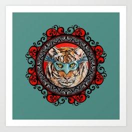Masquerade Bengal Tiger Mandala Art Print
