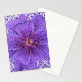 LILAC PURPLE FLORAL & PURPLE GEOMETRIC Stationery Cards