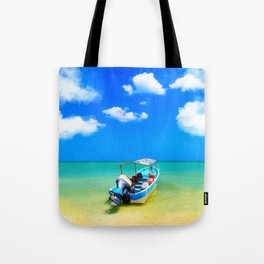 Little Blue Boat On The Gulf Of Mexico Tote Bag