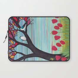 tree swallows in the stained glass tree with tulips and frogs Laptop Sleeve