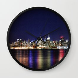Midtown Manhattan Reflecting on the East River Landscape Painting by Jeanpaul Ferro Wall Clock
