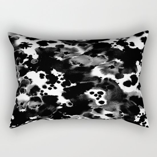 Peti - black and white minimal marble abstract painting brushstrokes modern urban hipster bklyn art Rectangular Pillow