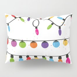 Light Bulbs Collection. Set of Christmas lights for Xmas holiday greeting card design vector backgro Pillow Sham