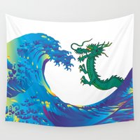 hokusai Wall Tapestries featuring Hokusai Rainbow & Dragon by FACTORIE