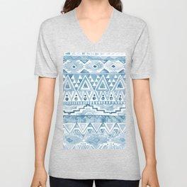 Watercolor Aztec Pattern blue Unisex V-Neck