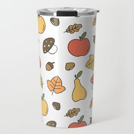 cute colorful autumn fall pattern with pears, apples, leaves, acorns, chestnuts and mushrooms Travel Mug