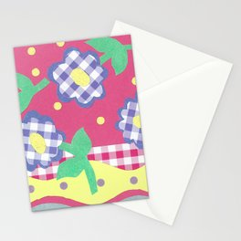 spring gingham floral spot stripe by nettie heron-middleton Stationery Cards