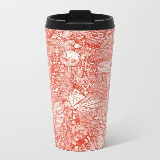forest floor fire orange ivory Metal Travel Mug