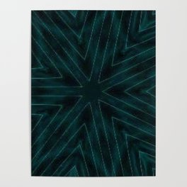 Teal Forest Green Snowflake Poster