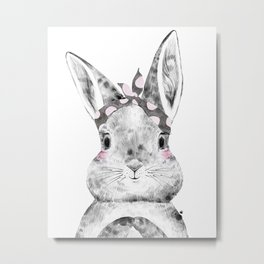 Bunny with Scarf Metal Print