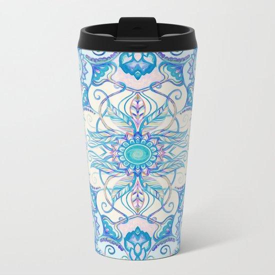Teal Blue, Pearl & Pink Floral Pattern Metal Travel Mug