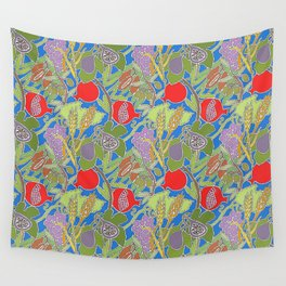 Seven Species Botanical Fruit and Grain with Blue Background Wall Tapestry