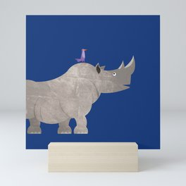Kids Room Rhinoceros and Bird – Illustration for Boys and Girls Mini Art Print