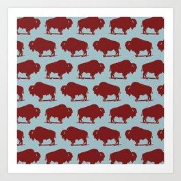 Buffalo Bison Pattern 262 Burgundy and Blue Art Print