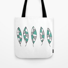 Hand Drawn Teal and Black Leaves by Emma Freeman Designs Tote Bag