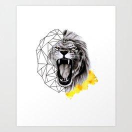 YELLOW LION Art Print