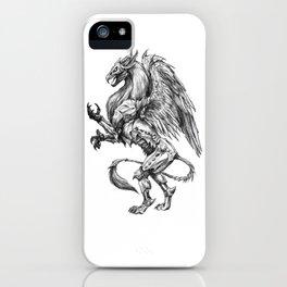 Dark Side Heraldic Griffin | Pencil Art iPhone Case