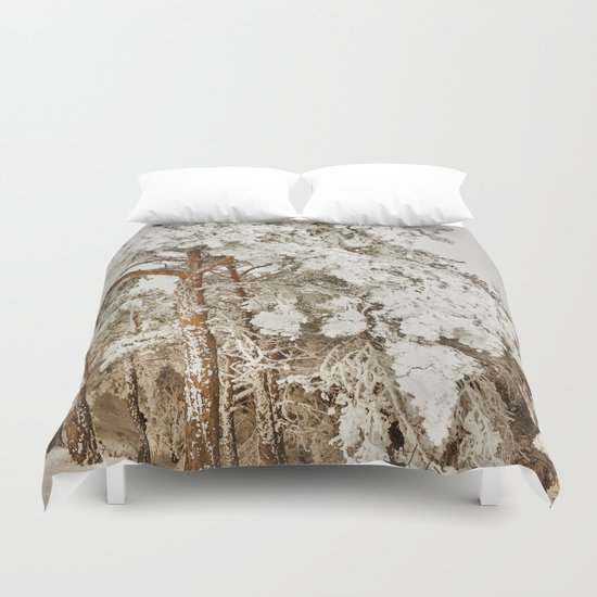 """Snow trees"". After the snowstorm Duvet Cover"