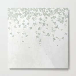 Soft Gray Green and White Trailing Ivy Leaf Print Metal Print