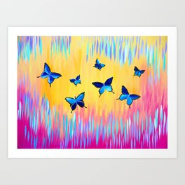 Butterflies and Abstract Colours Art Print