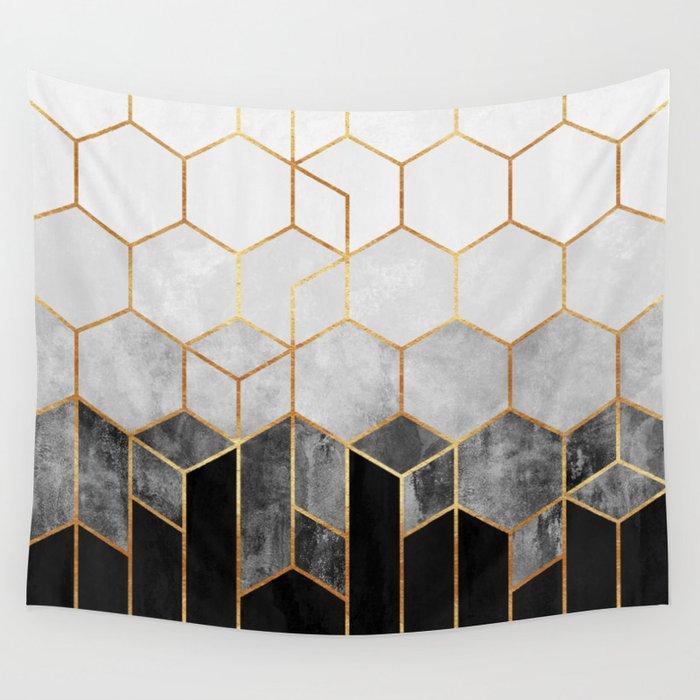 Charcoal Hexagons Wandbehang