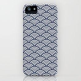 Navy Blue Seigaiha Sea Wave Nautical Minimalist iPhone Case