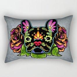 French Bulldog in Black - Day of the Dead Bulldog Sugar Skull Dog Rectangular Pillow