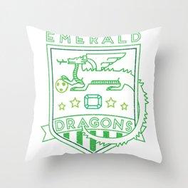 Emerald Dragons Throw Pillow