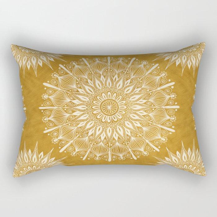 Vintage Mandala on Gold Rectangular Pillow