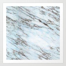 Aqua, Azure, and Heather-Gray Marble Art Print