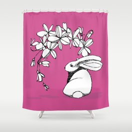 Happy Easter Pink Bunny and Flowers Shower Curtain