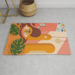 Still life with leaves, eye and desert colors Rug