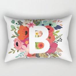 B – Monogrammed Floral Initial Rectangular Pillow