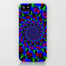 Blue Hippie Spiral Fractal Art Pattern iPhone Case