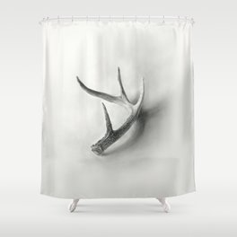 Lost and Found - Deer Antler Pencil Drawing Shower Curtain