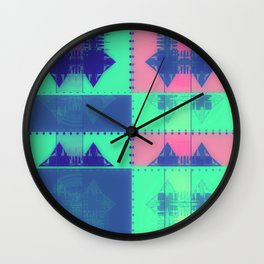 Squares, Quads & Dots in Pastel Colors Wall Clock
