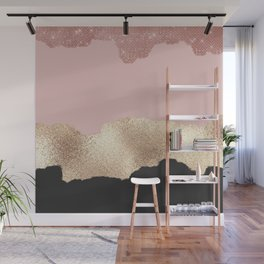 Rose Gold Glitter Black Pink Abstract Girly Art Wall Mural